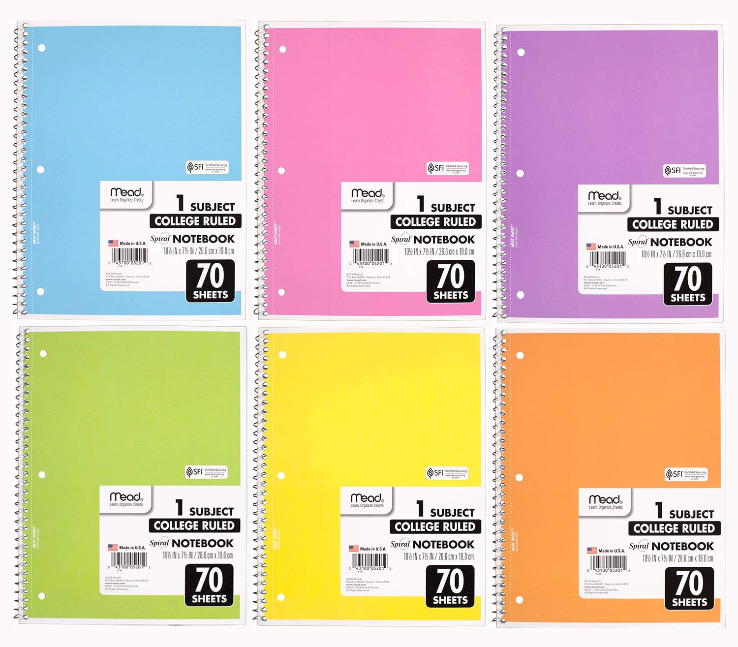 70 Pages 6 Pack Spiral Pastel Color Cute School Notebooks Free Ship