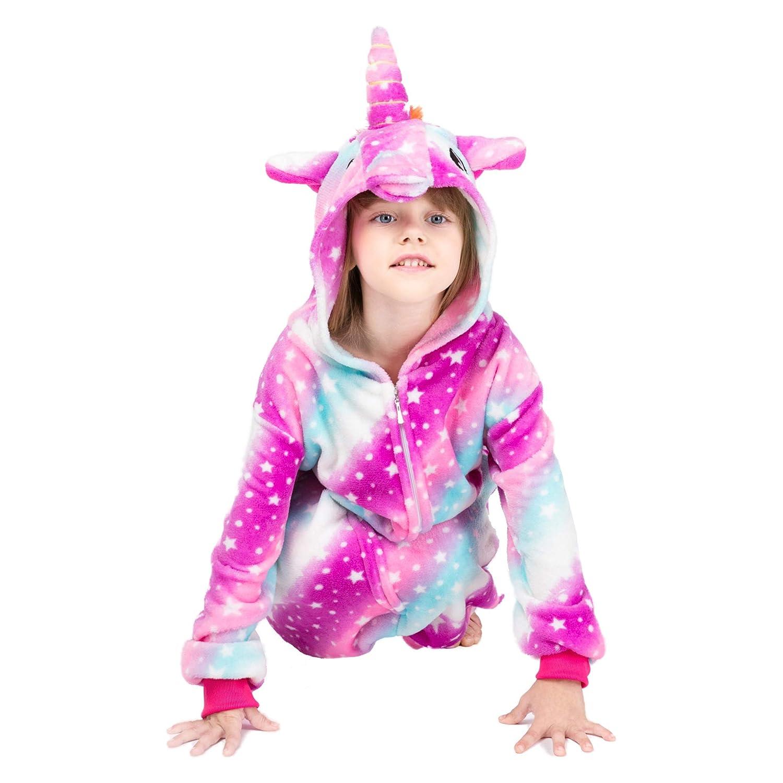 in Flanella CoMb Pigiama con Unicorno per Bambine e Ragazzi Carino Pigiama per Cosplay