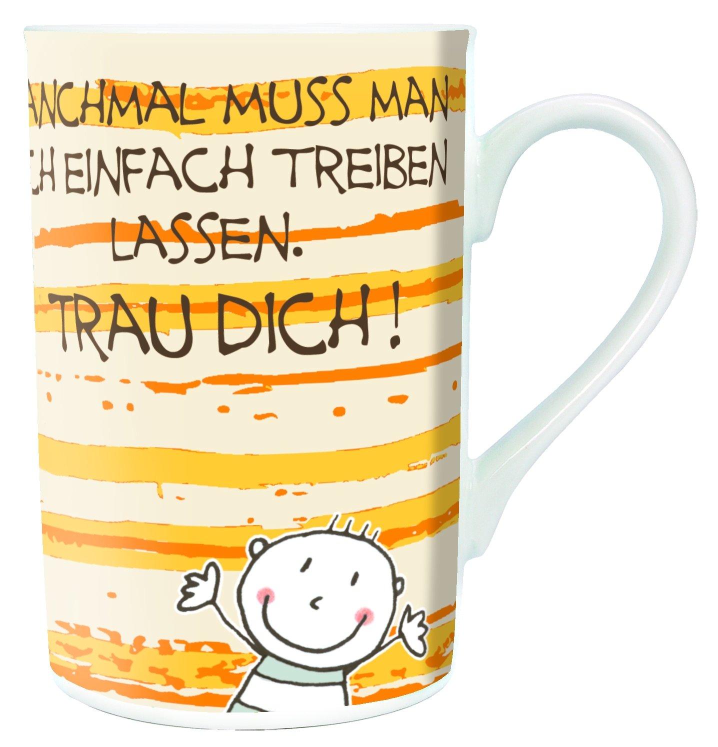 Auerhahn motivacional con frases! Taza de prados Be happy!: Amazon.es: Hogar