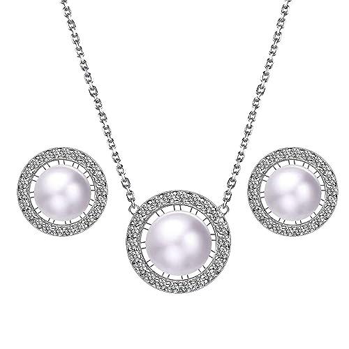925 Silber Schmuck Set Weiße Perle Halskette Anhänger Creolen Mode 2019 Hochzeit