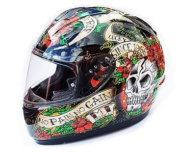 MT TRUENO calavera & Rosas edición limitada casco de moto, negro y rojo, medium