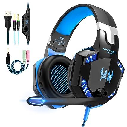 4b217319ebe Auriculares Cascos Gaming de Mac Estéreo con Micrófono Juego Gaming Headset  con 3.5mm Jack Luz LED Bajo Ruido Compatible con PC Xbox One, PS4 ,Móvil