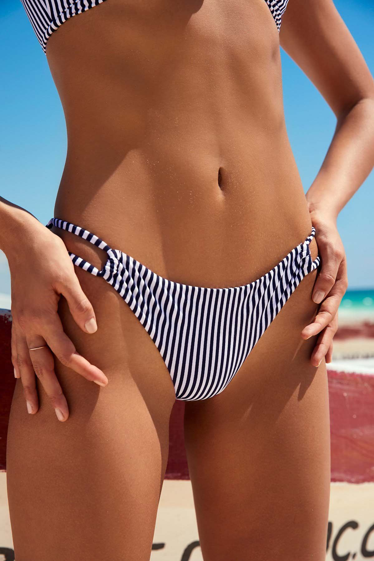 BMJL Women's Sexy Detachable Padded Cutout Push Up Striped Bikini Set Two Piece Swimsuit (M,Navy & White) by BMJL (Image #3)