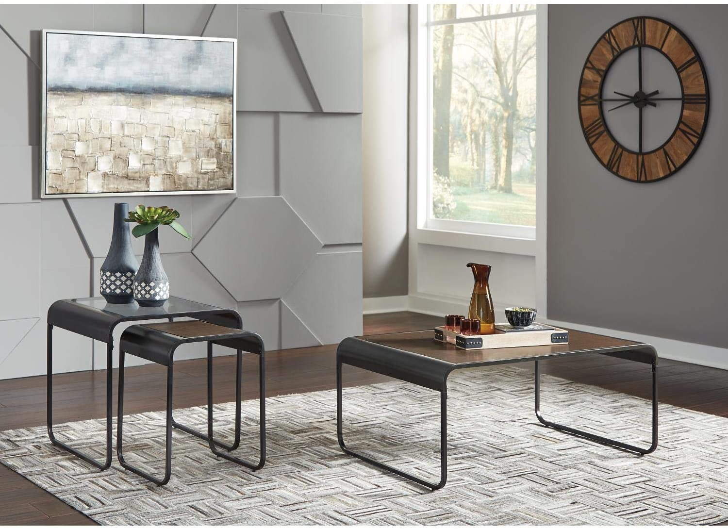 Coffee Table And 2 Nesting End Tables Signature Design By Ashley Larzeny Occasional 3 Piece Table Set Brown Black Living Room Furniture Living Room Table Sets