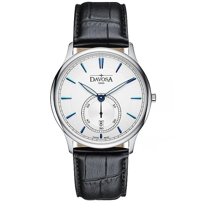 Amazon.com: Davosa Swiss Made Quartz Watch - Analog Battery Movement Professional Wrist Watch Flatline with Genuine Leather Strap Band (16248365): Watches