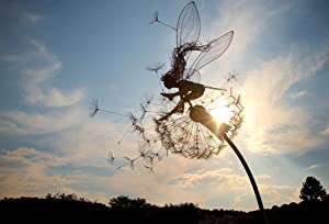 """Fairies and Dandelions Dance Together - Dramatic Steel Wire Sculptures of Agile """"Fairies"""" in Motion, Magic Collectible Figurine Fairies Pixies Nymphs Decor Forest Fairy Ornaments (Skylark)"""
