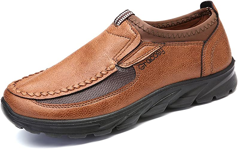 Fashion Men/'s Leather Casual Mesh Shoes Breathable Antiskid Loafers Moccasins