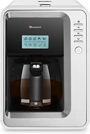 Hauswirt Coffee Maker, Grind-and-Brew Drip Coffee Machine with Bloom Function, 3 Grind Sizes, Detachable Water Reservoir, Warming Plate, 30 Oz Carafe, Serving 2-6 Cups