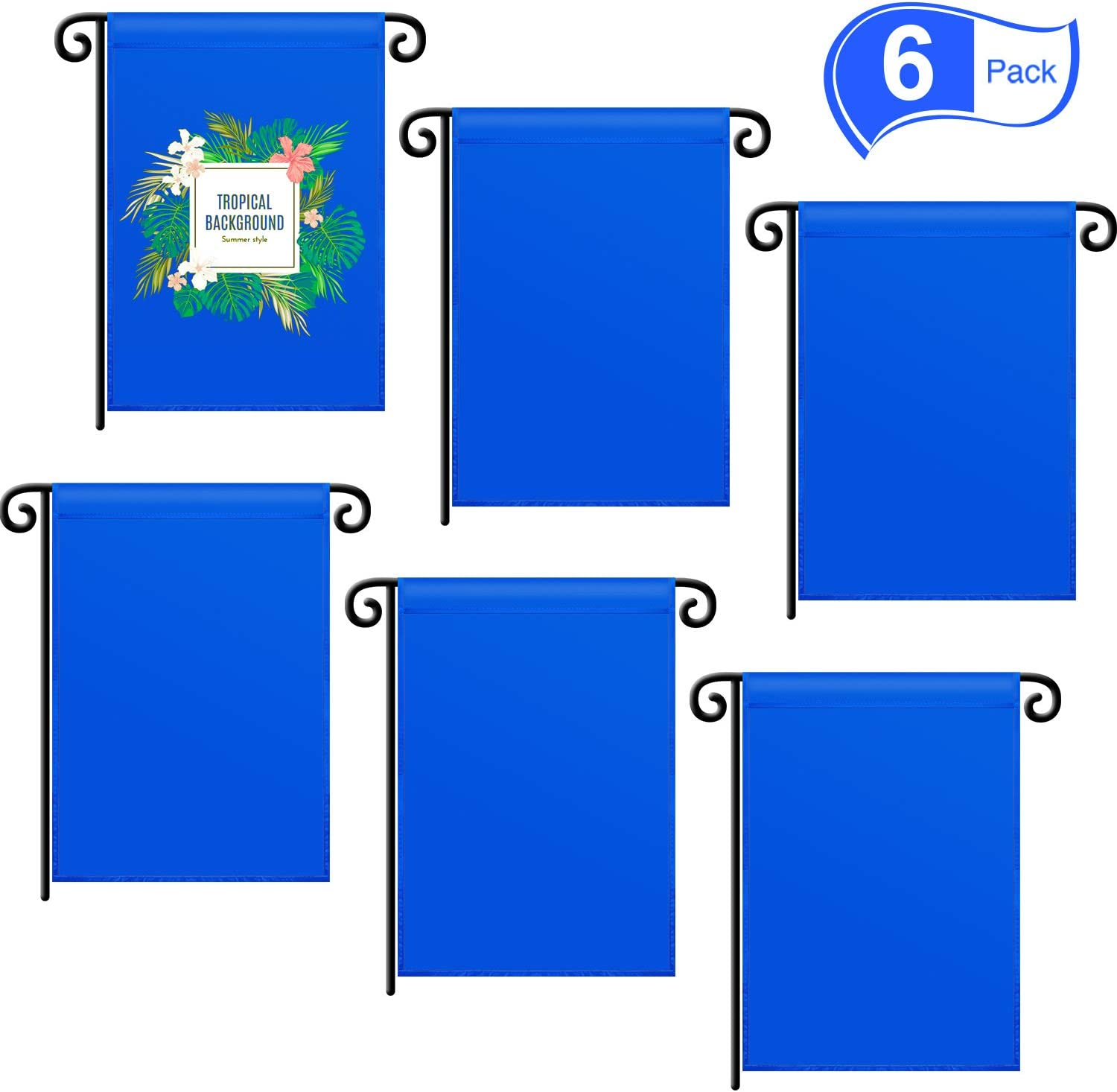 SATINIOR Double Sided Garden Flag Blank Flag DIY Garden Flag House Party Decorative Flag for Vinyl (HTV) Indoor Outdoor Party Decoration, Home Decoration, School Decoration (6, Blue)