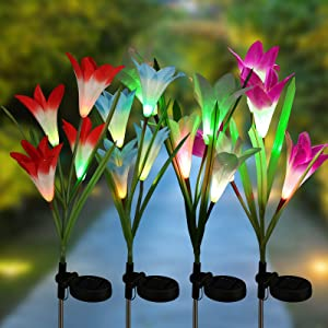Joomer Solar Garden Lights, 4 Pack Solar Lily Flower Lights Multi-Color Changing Landscape Lighting Outdoor Solar Ground Lights Path Lights for Garden, Patio, Yard, Walkway