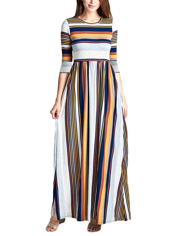 Acelitt Women's Summer Casual Loose Long Tshirt Dress 3 4 Sleeve Pocket Dresses for Women Striped Medium