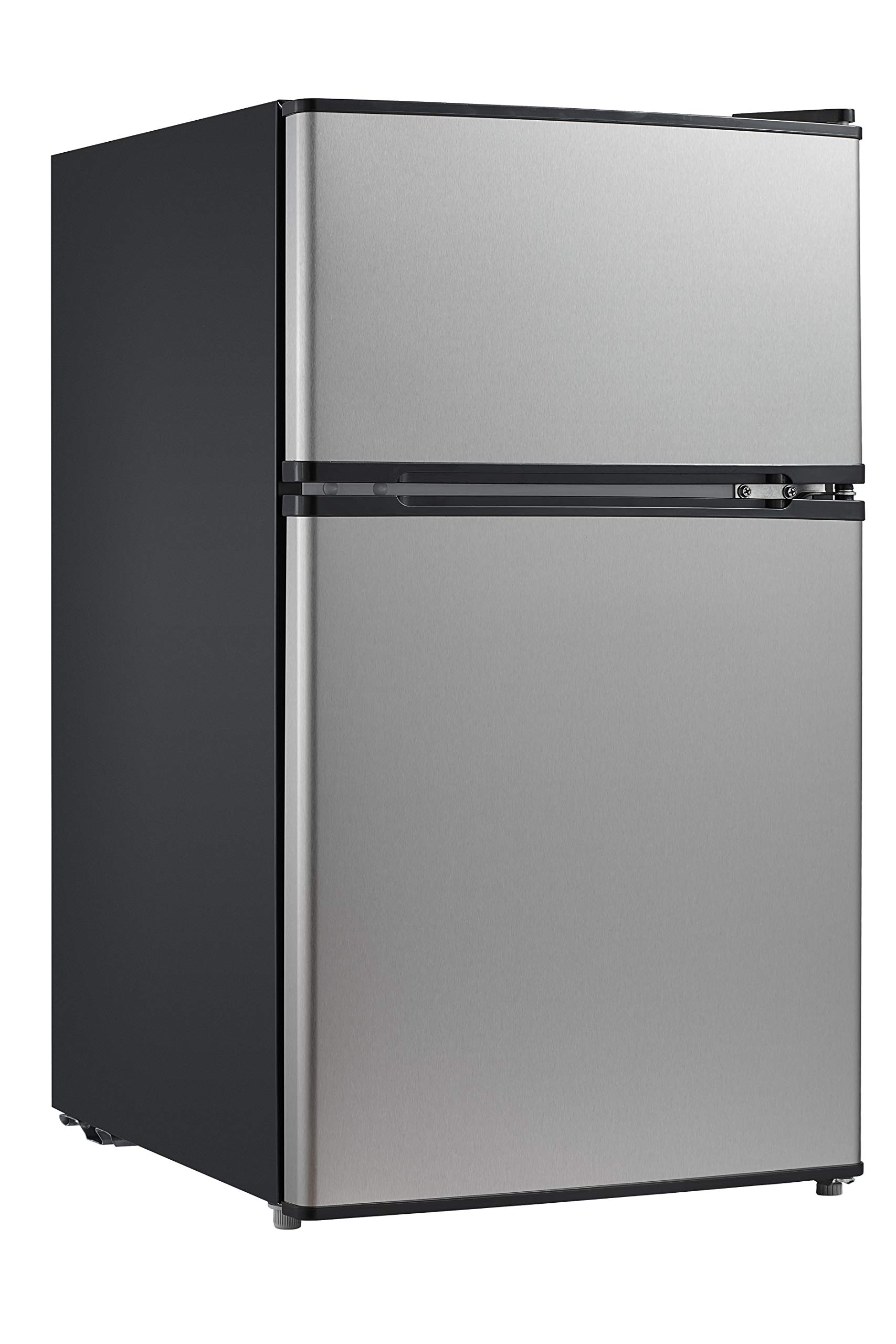 Midea WHD-113FSS1 Double Door Mini Fridge with Freezer for Bedroom Office or Dorm with Adjustable Remove Glass Shelves Compact Refrigerator 3.1 cu ft, Stainless Steel by MIDEA