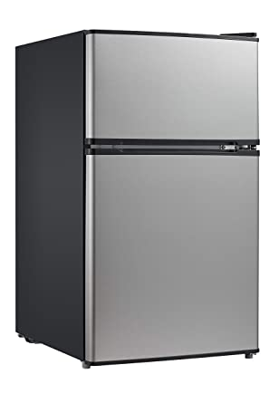 Midea WHD-113FSS1 Double Door Mini Fridge with Freezer for Bedroom Office  or Dorm with Adjustable Remove Glass Shelves Compact Refrigerator 3 1 cu  ft,