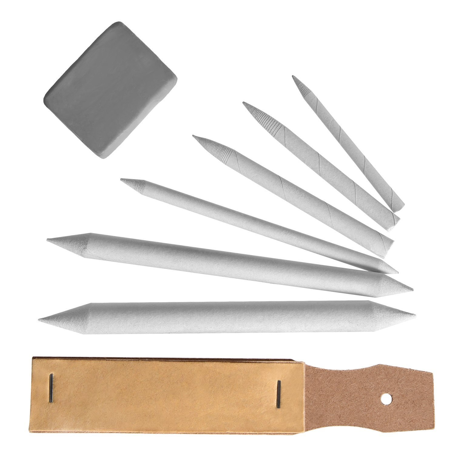 Drawing Blending Stumps- Stationery Set - Drawing Accessories Set Blending Stumps and Tortillions Pencil Sandpaper Pointer with Kneaded Eraser, 8 Pieces