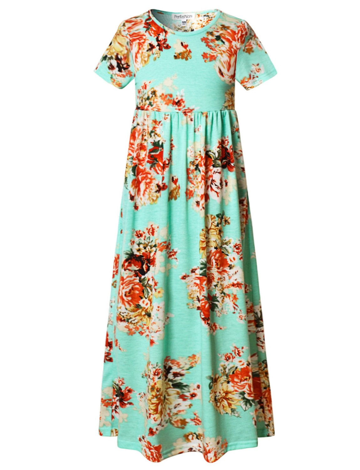 Perfashion Little Girls Floral Print Short Sleeve Summer Casual Maxi Dress, Mint Green Floral, 10-11 Years/Height:57in