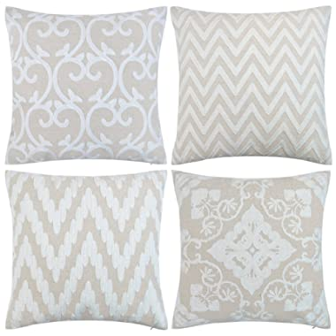 baibu Cotton Decor Accent Throw Pillow Case Embroidery Beige Cushion Cover Pack of 4