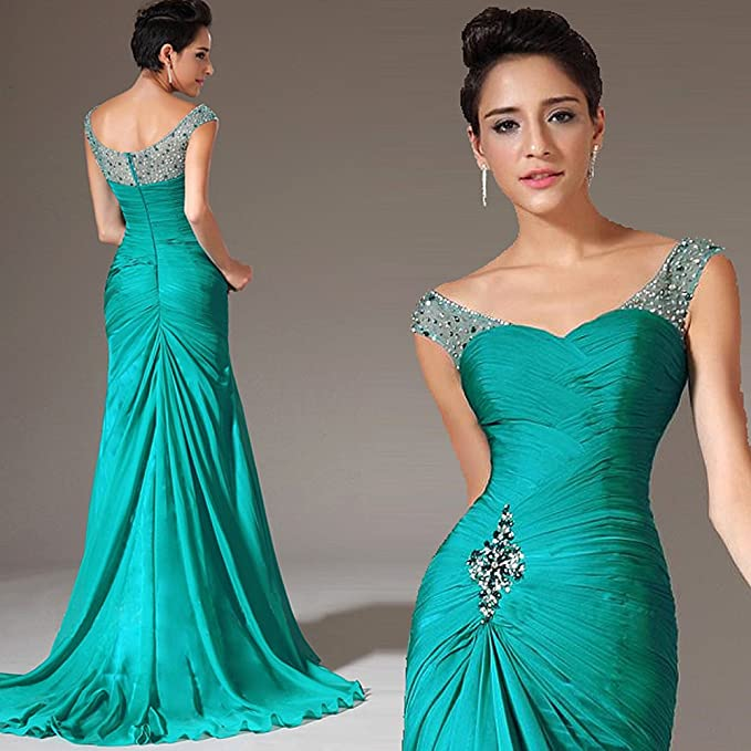 Turquoise Off the Shoulder Prom Dress with Beads (12): Amazon.co.uk: Clothing