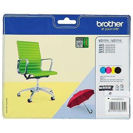 BROTHER Original 4 Cartuchos de Tinta XXL LC 229 / LC 225 - Negro ...