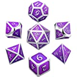Hestya 7 Pieces Metal Dices Set DND Game Polyhedral Solid Metal D&D Dice Set Storage Bag Zinc Alloy Enamel Role Playing Game Dungeons Dragons, Math Teaching (Purple)