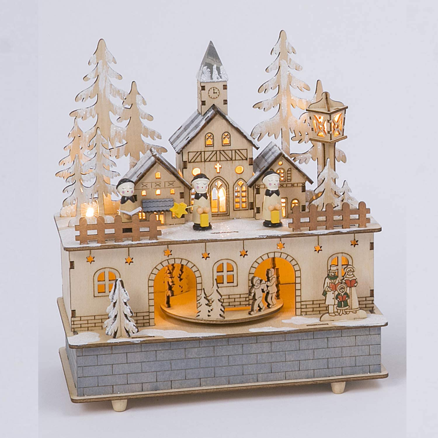 Lighted Animated Wooden Christmas Village Scene with Music – Tabletop Holiday Decoration (Church)