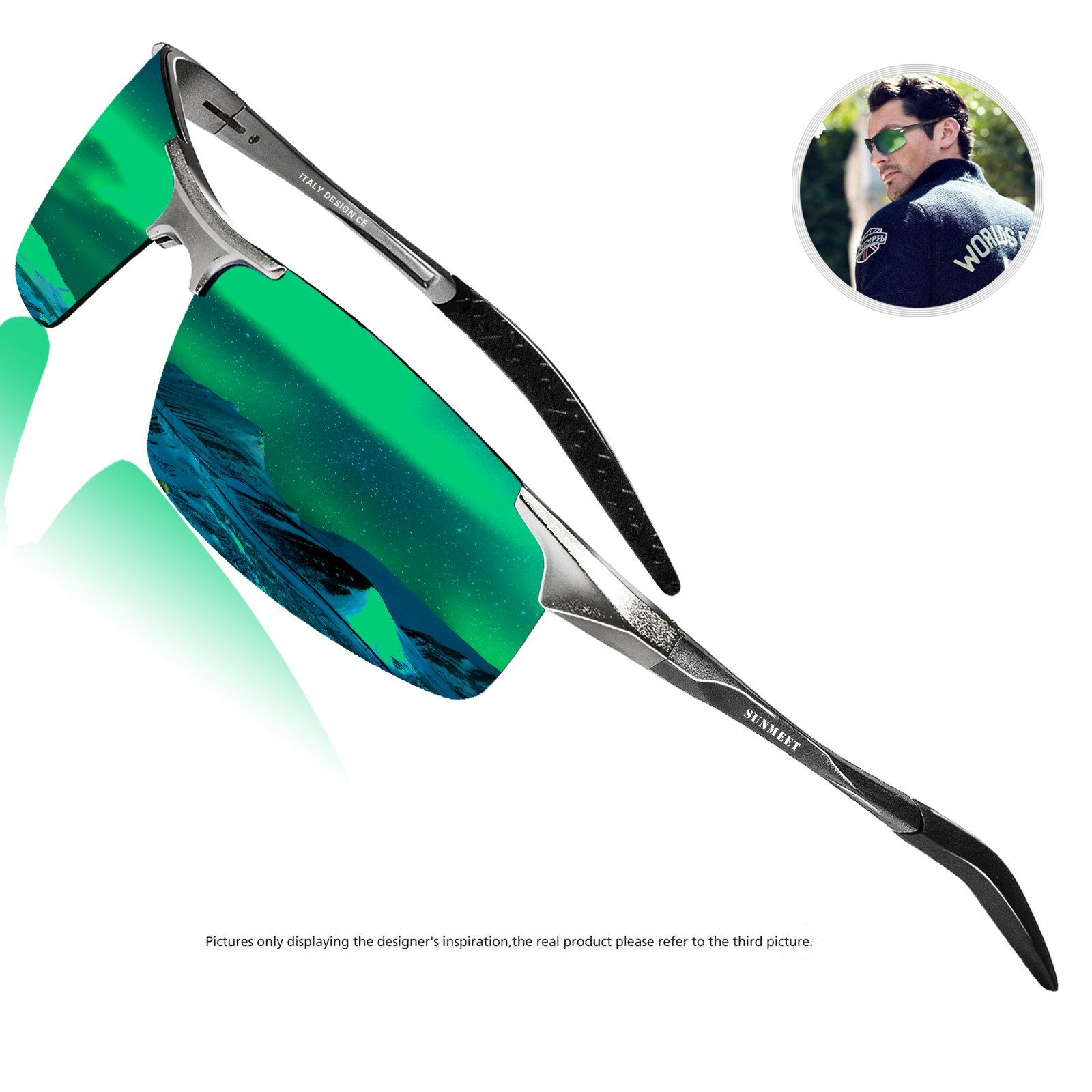 Polarized Driving Sunglasses For Men - SUNMEET Ultra Lightweight Al-Mg Golf Fishing Sports Metal Sunglasses(Green/Silver)