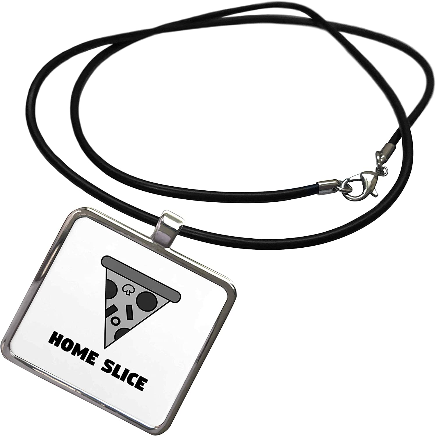 3dRose Stamp City - Typography - Home Slice. Black and White Pizza. Black Letters on White Background. - Necklace with Rectangle Pendant (ncl_325063)