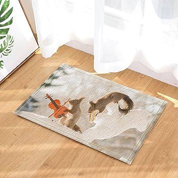 Limttednethard Animal Decor, Eichhörnchen Mit Musikinstrument Sehr Lustig,  Bad Teppiche, Rutschfeste Fußmatte Boden