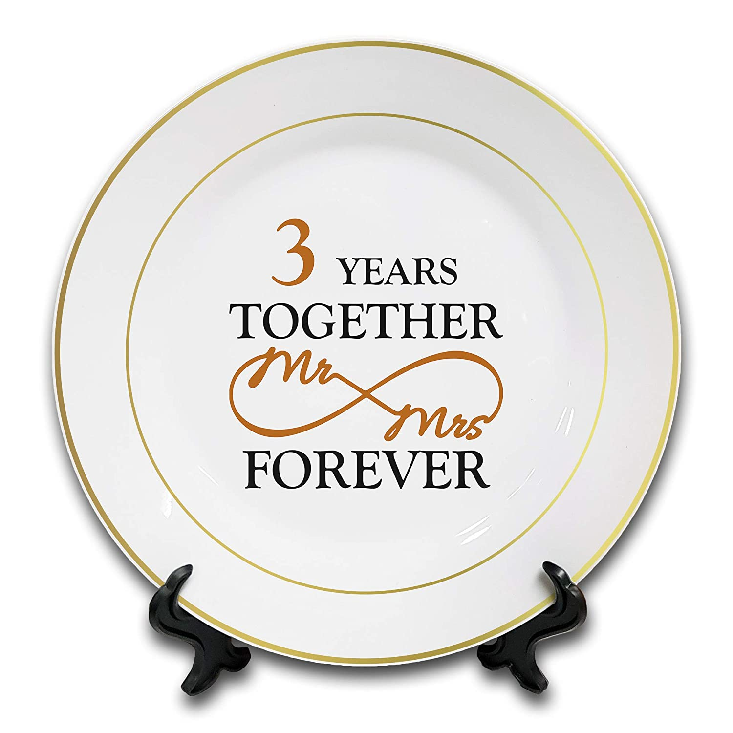 3rd Leather Novelty Ceramic Plate /& Stand Gold Rim 8 Mr /& Mrs Together Forever Anniversary