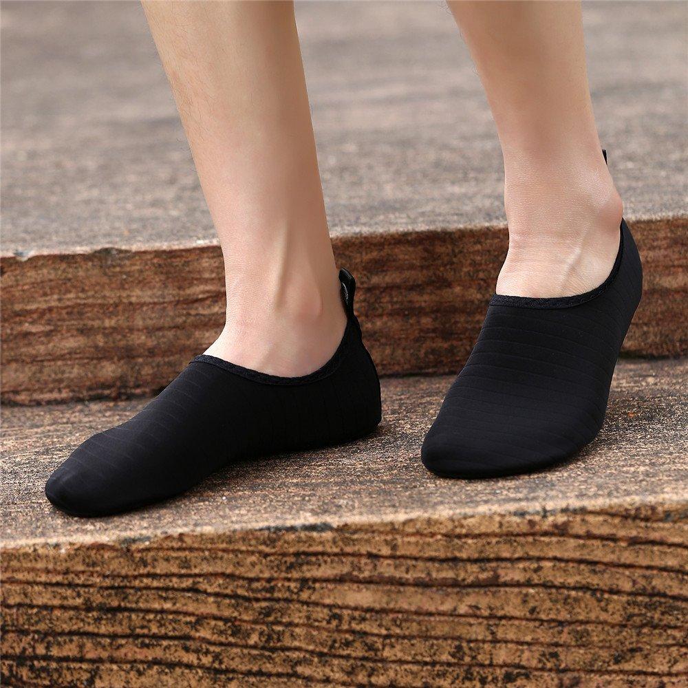 4e1ac22daa9 Womens and Mens Water Shoes Barefoot Quick-Dry Aqua Socks for Beach Swim  Surf Yoga Exercise (TW.Black, M) - Water Socks-TW.Black-M < Water Shoes <  Clothing, ...