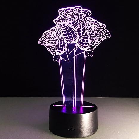 LEDMOMO 3D Lámpara LED Decoración Rosa Lámpara de Mesa Decoración del Hogar Mejor Regalo para El Festival Toque el Interruptor