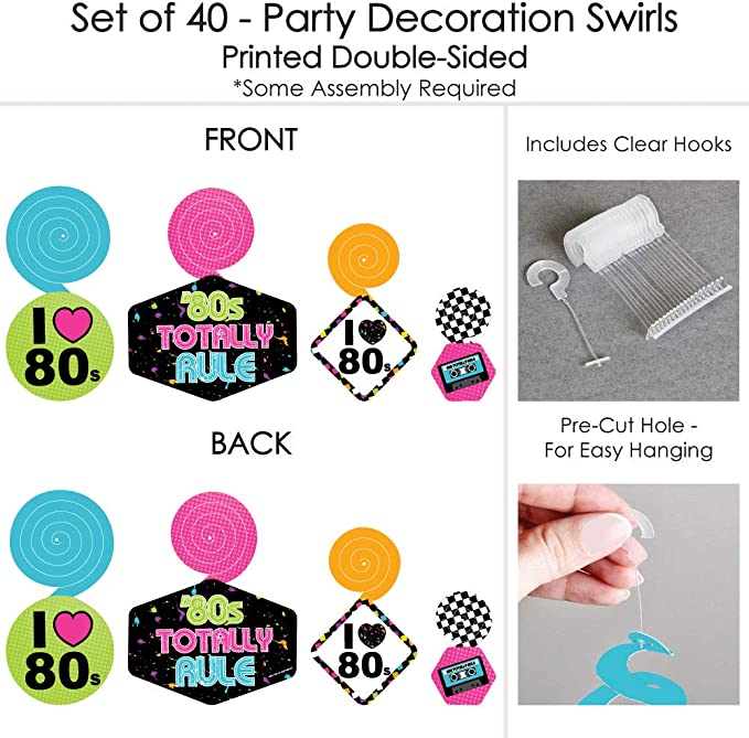 44 Pieces Totally 1980s Party DIY Decorations Clothespin Garland Banner 80\u2019s Retro