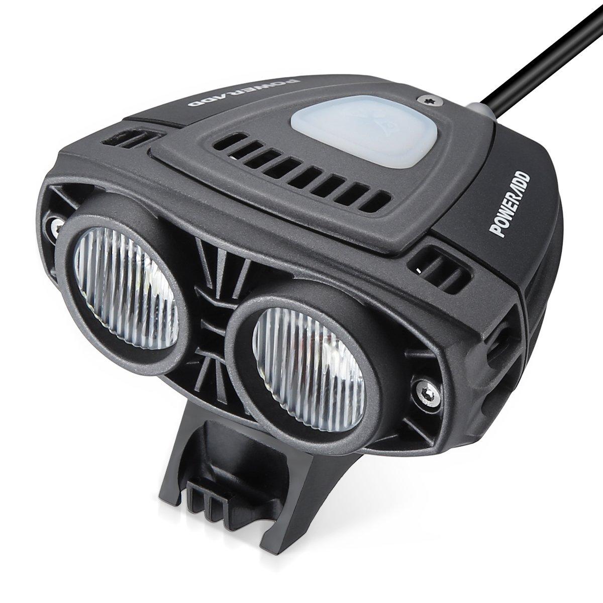 POWERADD Super Bright Headlight Front Bike Light, 12000mAh rechargeable Waterproof 1600K LED Bike Light, 3 Light modes for Bike,Road Bike,Mountain Bike,Light Bike Night Rider