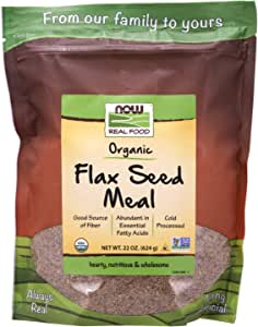 NOW Foods, Organic Flax Seed Meal, Source of Fiber, Source of Essential Fatty Acids, Cold-Processed, 22-Ounce