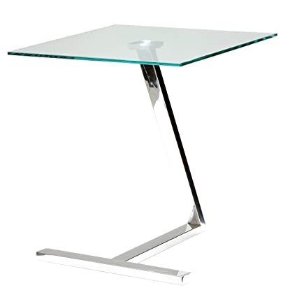 Amazoncom Cortesi Home Ch Et636713 Zee Square Glass End Table