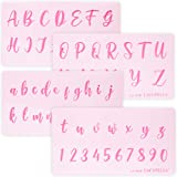 Lacupella Calligraphy Cursive Alphabet Letter Number Cake Acrylic Stencil 1.5 Inch Set of Four - for Cake Airbrush Art…