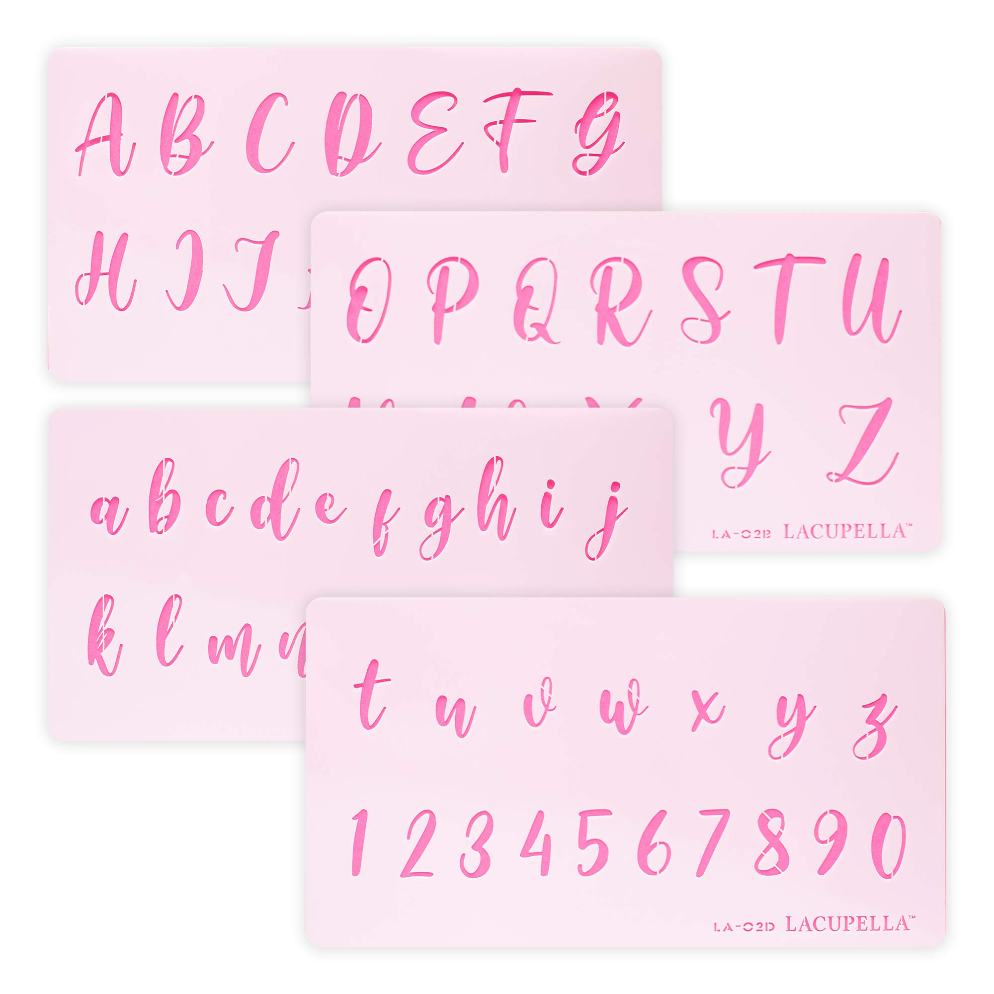 Calligraphy Alphabet Letter Number Cake Acrylic Stencil 1.5 Inch Set of Four - for Cake Airbrush Art and Craft Painting