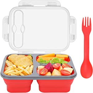 YianKem Silicone Lunch Box, Salad container for lunch, 3 Compartments Leak-Proof Foldable food Storage Box, Lunch Box for Kids, Lunch Reusable Containers, Traveling food Containers, BPA Free (Red)