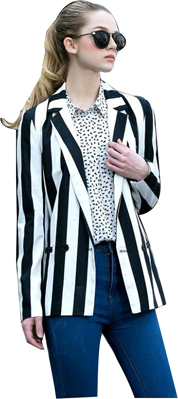 Amazon Com Moxeay Women S Halloween Beetlejuice Costume Black And White Striped Blazer Jacket Clothing