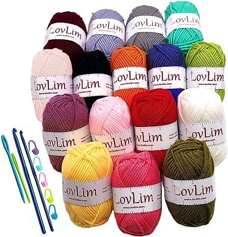 LovLim 16 hilos de algodón para ganchillo y tejer, 1200 yardas de ...