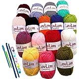LovLim Crochet Yarn kit, 16 Soft Cotton Yarn Skeins for Crochet and Knitting, 1200 Yards Craft DK Yarn, Free Crochet/Amigurumi Patterns, Perfect Starter Kit