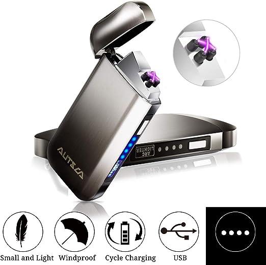 AUTSCA Mechero Eléctrico, Encendedor USB Doble Arco Eléctrico con ...
