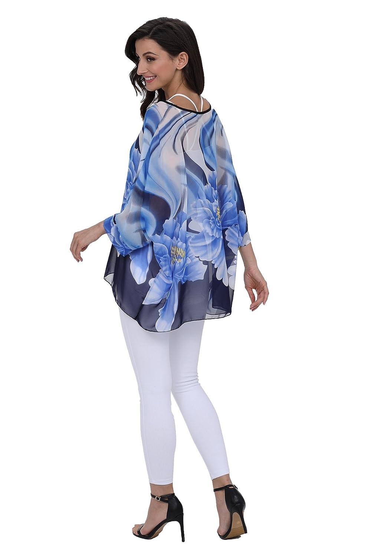 abb22a3a1a813 DearQ Boho Floral Chiffon Blouse Casual Plus Size Batwing Blouse Hippie Semi  Sheer Loose Top ...