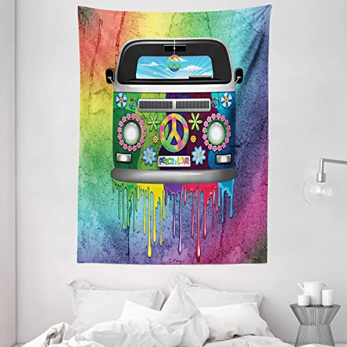 Ambesonne Groovy Tapestry, Old Style Hippie Van Dripping Rainbow Paint Mid 60s Youth Revolution Movement Theme, Wall Hanging for Bedroom Living Room Dorm Decor, 60 X 80 , Magenta