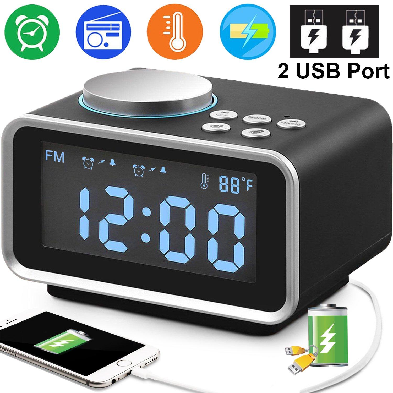 Duperym Digital Alarm Clock Radio - 3.5'' Blue LCD Larger Display Snooze Alarm Clock FM Radio with Dual USB Charging Ports Temperature Dimmer Sleep Timer, Adjustable Alarm Volume, 12/24 Hours