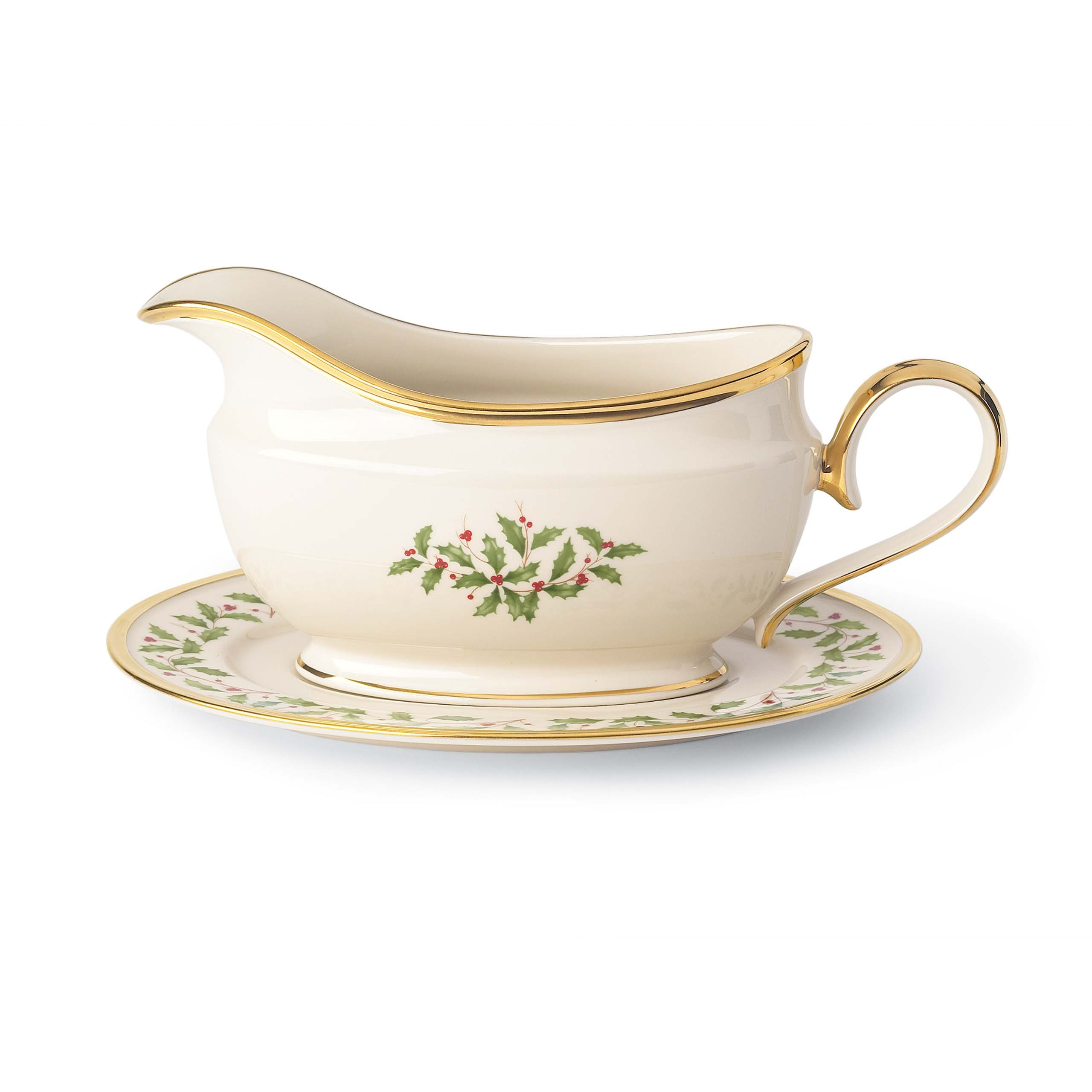 Lenox Holiday Sauce Boat & Stand,Ivory