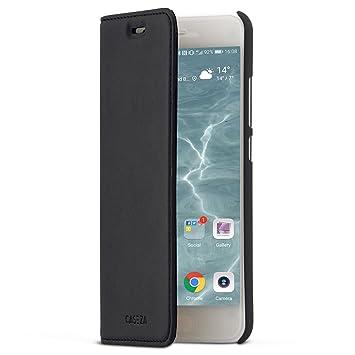 CASEZA Huawei P10 Funda Negro Tipo Libro Piel PU Case Cover Carcasa Plegable Cartera Oslo Piel Vegana Premium para Huawei P10 (5.1