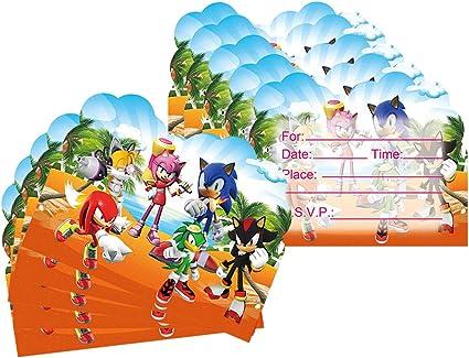Amazon Com 20 Pcs Sonic The Hedgehog Birthday Party Invitations Sonic The Hedgehog Birthday Party Supplies Toys Games