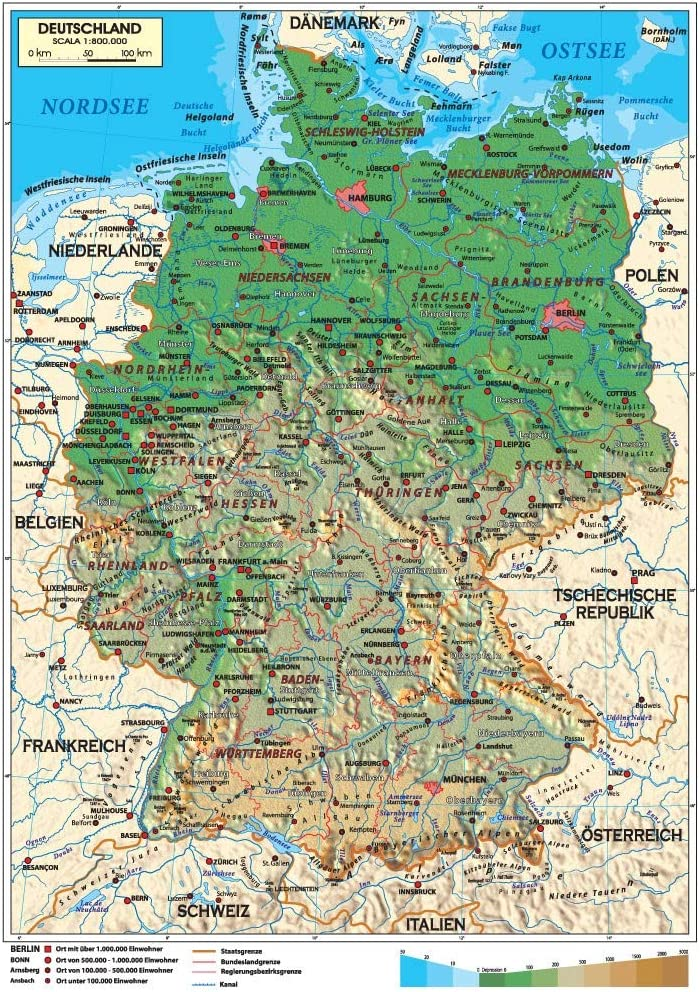 La Germania Cartina Politica.Carta Geografica Murale Germania In Lingua Madre Tedesca 100x140 Bifacciale Fisica E Politica Amazon It Cancelleria E Prodotti Per Ufficio