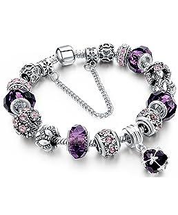 Tonver - Bracciale con charm realizzato a mano, placcato in argento sterling, con catena a spire; per donne e ragazze e placcato Argento, colore: Purple, cod. 1806903