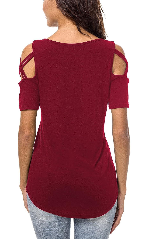 c0e5e8a62e3ec Women Shirt Short Sleeve Top Cut Out Cold Open Shoulder Blouse ...